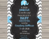 Elephant Baby Shower  invitations printable or digital file - little peanut -personalized-invite- invites