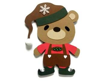 Christmas Elf Teddy Bear Christmas Card - Teddy Bear Card - Christmas Elf Card - Paper Elf Cut Out - Elf Shaped Card - Holiday Cards