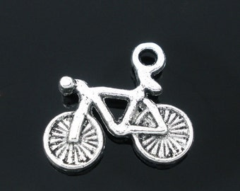 5 pieces Antique Silver Bicycle Charms