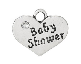 """4 Pieces Antique Silver Rhinestone Heart """"Baby Shower"""" Charms"""