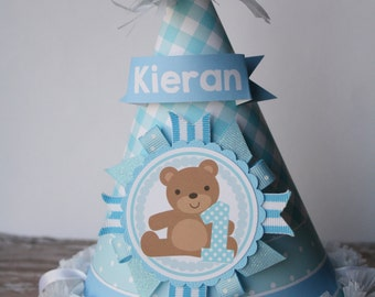 Teddy Bear Baby Boy Party Hat, Teddy Bear Baby Birthday Party Hat