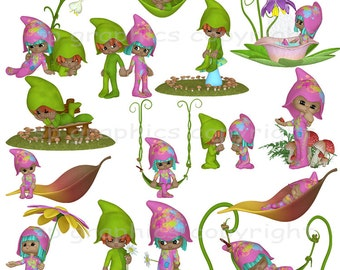 Garden Gnomes clipart - for cards, scrapbooking, invites, general craft work