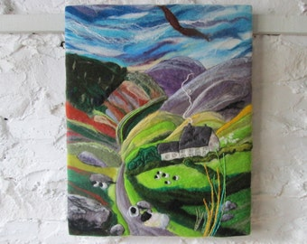 felt painting, textile art, the mountain road, 20 x 16 inches
