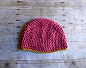 Pink and Mustard Yellow Crochet Beanie - Womens Beanie - Womens Hat - Basic Beanie - Winter