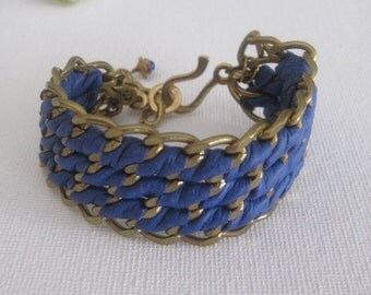 Vintage Brass Chain and Leather Woven Bracelet