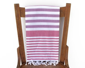 Turkish Towel Turkish Cotton Beach Towel Turkish Bath Towel Fouta Towel Sarong Pareo Throw Blanket Blue Handwoven PURPLE ROSE Pink PESHTEMAL