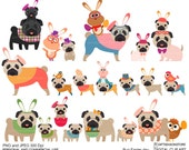Easter pug digital clip art for Personal and Commercial use - INSTANT DOWNLOAD