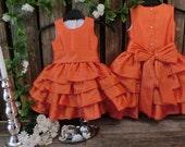 Orange flower girl dress.Flower girl ruffle dress.Toddler girls special occasion dress.Formal dress.