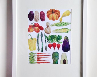 Farmer's Bounty Watercolor Vegetable Print