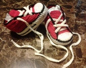 Newborn Baby Booties, Converse style shoes, handmade thread crochet
