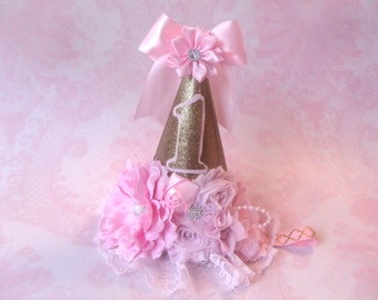 Pink and Gold First Birthday Party Hat, One Birthday Party Hat, Pink Party Hat, Gold and Pink Birthday Hat, Girls Princess Party Hat