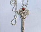 Princess Crowned Red Ruby Skeleton Key Necklace Silver Key Pendant