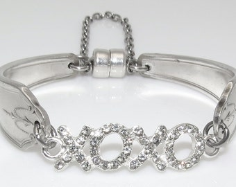Rhinestone Hugs and Kisses Satin Finish Spoon Bracelet