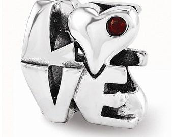 Sterling Silver Swarovski LOVE Bead