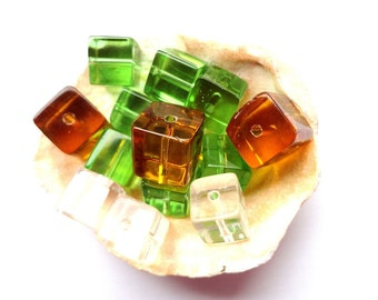 6 Glass Cube Beads 10 mm Topaz Brown Green White Glass Beads Jewelry making Supplies