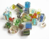 Mixed Lot Cane Glass Beads, 4 Ounces Cane Glass Beads, 5x4mm-25x4mm Mixed Shapes, Bead Supply, 1/4 Pound of Beads,  ASC07
