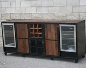 Rustic Liquor Cabinet, Beverage center. Rustic Industrial & reclaimed wood. Refrigerator Unit, Bar , Wine Cooler.