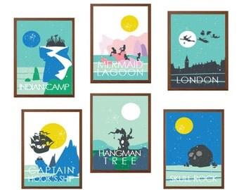 PETER PAN | Set of Six Travel Poster : Modern Illustration Children Disney Retro Art Wall Decor Print