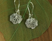 Nasturtium Leaf Earrings in Solid Sterling Silver made from a real leaf