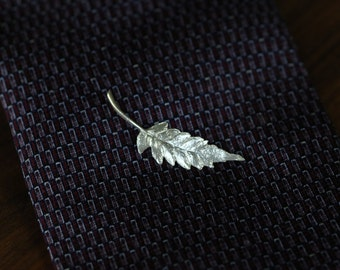 Fern Leaf Tie Tack or Pin in Sterling Silver by Mary Cappy/MKSterlingDesign