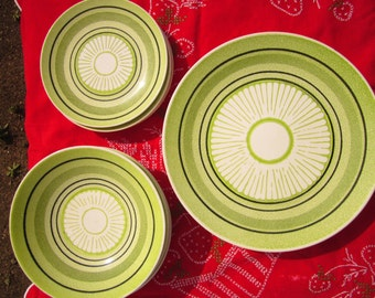 Vintage Made in USA Lime Green Dinnerware for Four with sun Pattern Motif on SALE