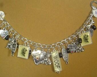 "7-1/2"" Dog Lovers Charm Bracelet - B022"