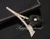 1PCS Black flowers Golden Crystal Iron tower Flatback Alloy jewelry Accessories materials supplies
