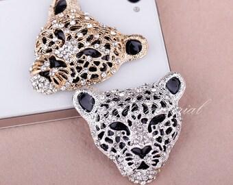 2PCS Fashion Popular leopard head Flatback Alloy jewelry Accessories materials supplies
