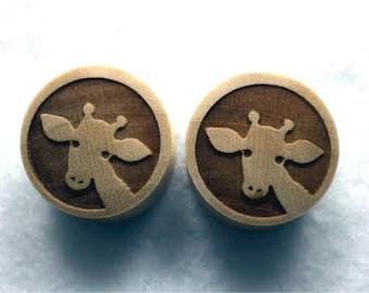 "Custom Handmade Organic ""Giraffe"" Wood Plugs - You choose wood type/color and size 7/16"" - 30mm"