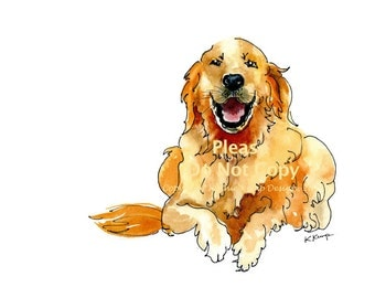 Golden Retriever Pet Portrait Christmas Gift Idea Pen & Ink Watercolor Drawing English Cream Memorial Giclee Print Gold Blue