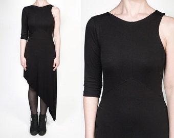 Black Asymmetric Jersey Dress