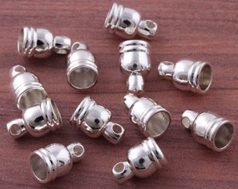 Silver Tone Leather End Caps, Jewelry Findings, Supplies, Necklace, Bracelet Clasps Sassy Silks For 3mm Cord