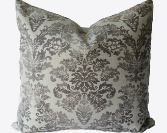 Decorative Aqua Grey Suzani, Old World Pillow Cover, 18x18, 20x20, 22x22 or Lumbar Throw Pillow