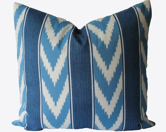 Decorative Outdoor Blue Stripe Ikat Pillow Cover, 18x18, 20x20, 22x22 or Lumbar, Throw Pillow