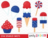 80% OFF SALE 4th Of July Sweets Treats Ice Cream Cute Clip Art, Instant Download, Commercial Use