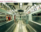 NYC Photography NYC Subway Mint Green Red New York City Wall Art Vintage Retro Train Photograph Subway Art Railroad Car Fine Art Photo Print