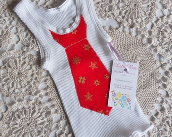 Baby Boys White Christmas Singlet with Applique Red Tie and Gold Stars, Size 00. One only Ready to ship