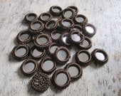 Crochet mirror beads for stitching, round brown mirror beads, crochet beads, decorative mirrors for accessories, mirror appliques  - 50 pcs.