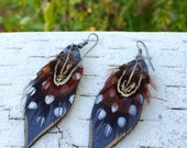 HOLD FOR TRISH Feather Leather Love earrings- lightweight natural handmade spotted silver hooks