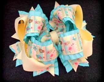 Double Ruffle Hair Bow....Birdie Hair Bow...Aqua and Cream Hair Bow...Cream Hair Bow...Aqua Hair Bow...