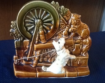 McCoy Spinning Wheel a Planter with dog