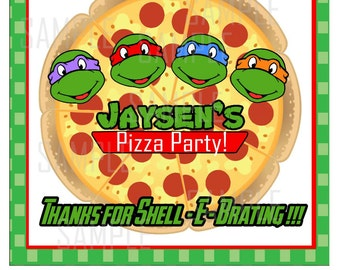Pizza party box label 8 x 8 inch label