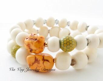 Tibetan White Bone Bracelet - Mala Bead - Tribal Bracelet - Set of 2