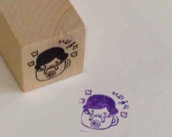 A Cute Wooden Rubber Stamp: Girl in Hot Bath