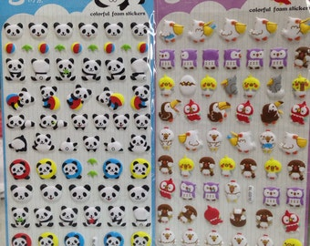 Japanese/ Korean Puffy Stickers (Pick 1) - Panda or Birds