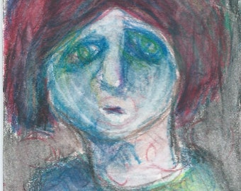 Original ACEO Watercolor Painting - Fear