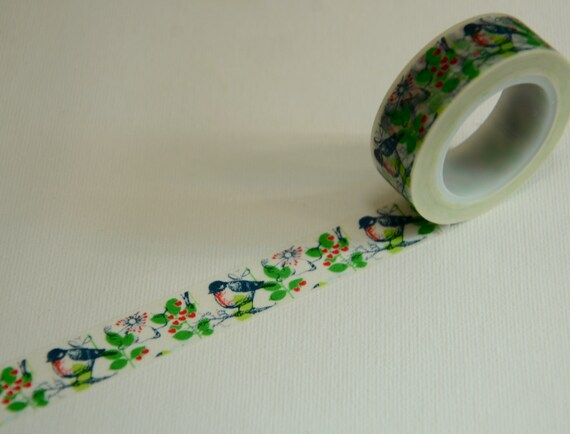 1 Roll of Japanese Washi Tape Roll- Blue Bird