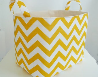 Storage Basket Fabric Organizer - Gift Basket/Hostess Gift - Home Organizing - Zig Zag Yellow Chevron and Canvas