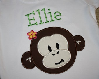Applique Toddler Shirt in White with Monkey Design