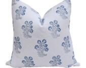 Virginia Kraft Khilana Hand Printed Pillow Cover - Navy/Delft Blue - Ready to Ship!